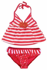 Rugged Bear Baby Girls' Sailing 2Pc Tankini Two Piece Swimsuit