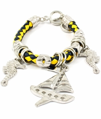 Sailboat and Seahorse Silver Charm Cord Bracelet