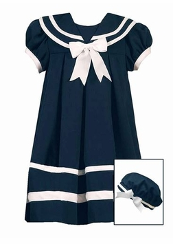 Girls Sailor Dress with Hat -  Navy Sailor Dress E164003R