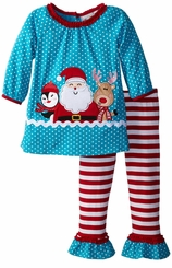 Santa and Friends Snow Dot Pant Set