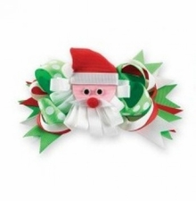 SANTA HAIR BOW - Removable Santa