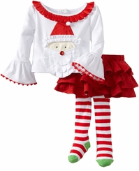 Santa Tab Skirt Set -  Baby or Toddler Girls Christmas - SOLD OUT