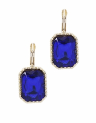 Sapphire Blue, Gold Rectangle Drop Earrings with Lever Back