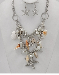 Sea Life Charm Necklace and Earring Set