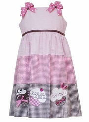 Seersucker Cupcake Dress with Bloomers - Fuchsia Pink/ Brown