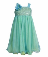 Sequin Aqua Mesh Special Occasion Dress