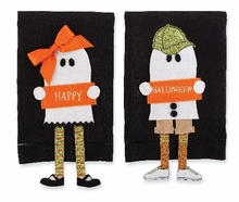 Set of 2 Boy and Girl Halloween Ghost Linen Towels