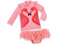 Shade Critter Little Girls Flamingo Ruffle Swimsuit with Swim Shirt