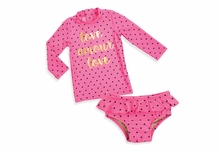 Shade Critter Little Girls Love Amour Pink Dot Ruffle Swimsuit with Swim Shirt