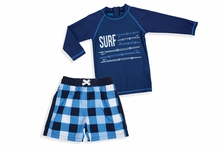 Shade Critters Little Boys Surf Check Swim Trunks and Swim Shirt