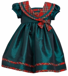 Short Sleeve Green Shantung Plaid Dress - Girls Holiday dress
