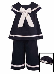 Infant or Girls Nautical Sailor Capri Set With Hat 6 months - 2T