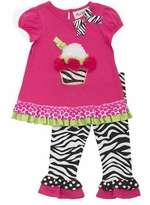 Short Sleeves Fuchsia Cupcake Zebra Legging Set