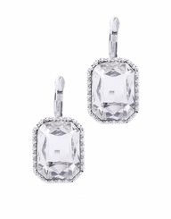 Silver and Clear Rhinestones Rectangle Earrings