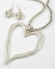 Silver Heart Pendant Necklace and Earring Set