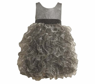 Silver Metallic Ruffle Tulle Dress  :sold out