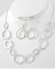 Silver Modern Geometric Necklace and Earring Set