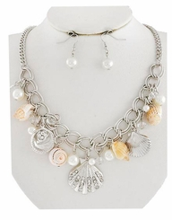 Silver Plated Link Seashell Charm Necklace and Earring Set