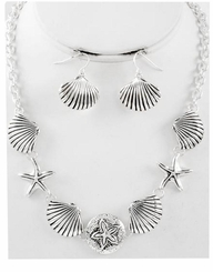Silver Plated Seashell Necklace and Earring Set
