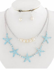 Silver Plater and Blue Starfish Necklace and Earring Set