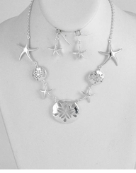 Silver Starfish and Shell Necklace and Earring Set SOLD OUT