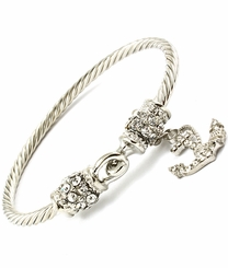 Silver Tone Twisted Anchor Bracelet