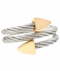 Silver Twist Gold Tone Arrow Wrap Ring - Adjustable out of stock