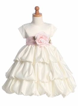 SIZE 12 LAST ONE Ivory Satin Flower Girl Dress - sold out