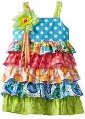 Size 3T - 10 Rare Editions - Mix Print Multi Tiered Dress