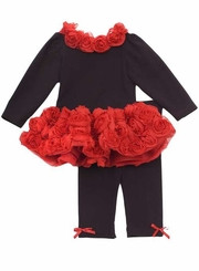 SIze 2T - 6X Rare Editions Red Rose Pant Set  CLEARANCE