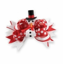 SNOWMAN Hairbow - Removable Snowman