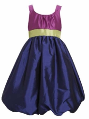 Special Occasion Dress: Bonnie Jean Purple Color Blocked Taffeta Dress