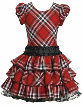 Special Occasion Red Plaid Short Sleeved Tiered Dress