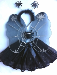Spider Costume Pettiskirt Set with Wings and Headband