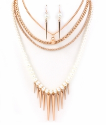 Spike and Pearl Multi Strand Necklace and Earring Set