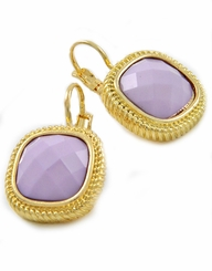 Square Gold Lavender Lever Back Earrings