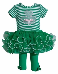 St.Patrick Shamrock Applique Tulle Tutu Legging Set