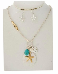 Starfish Charm Necklace and Earring Set Two Tone