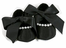 Stephan Baby Baby Girls Black Satin Shoes w/Pearls 6-12 months - Sold Out