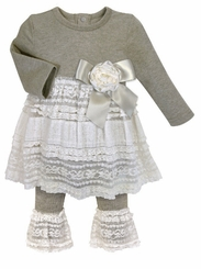 Baby Girls Gray Shabby Snapdress & Leggings Set - sold out