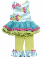 Stripe Bodice Fish Applique Tutu Legging Set