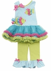 Stripe Bodice Fish Applique Tutu Legging Set SOLD OUT