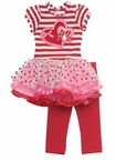 Stripe Bodice Heart Applique Tutu Legging Set