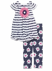 Rare Editions Toddler Stripe Printed Legging Set  4T