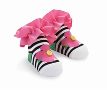 Striped Flower Socks by Mud Pie Out Of Stock