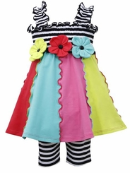 Striped Smocked Bodice Triple Flower Legging Set  FINAL SALE