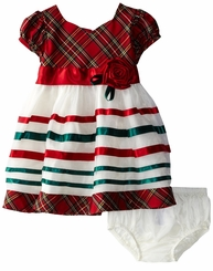 Infant Baby Girls Taffeta Plaid Ribbon Dress - Christmas Dress - SOLD OUT