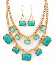 Teal and Light Green Necklace and Earring Set