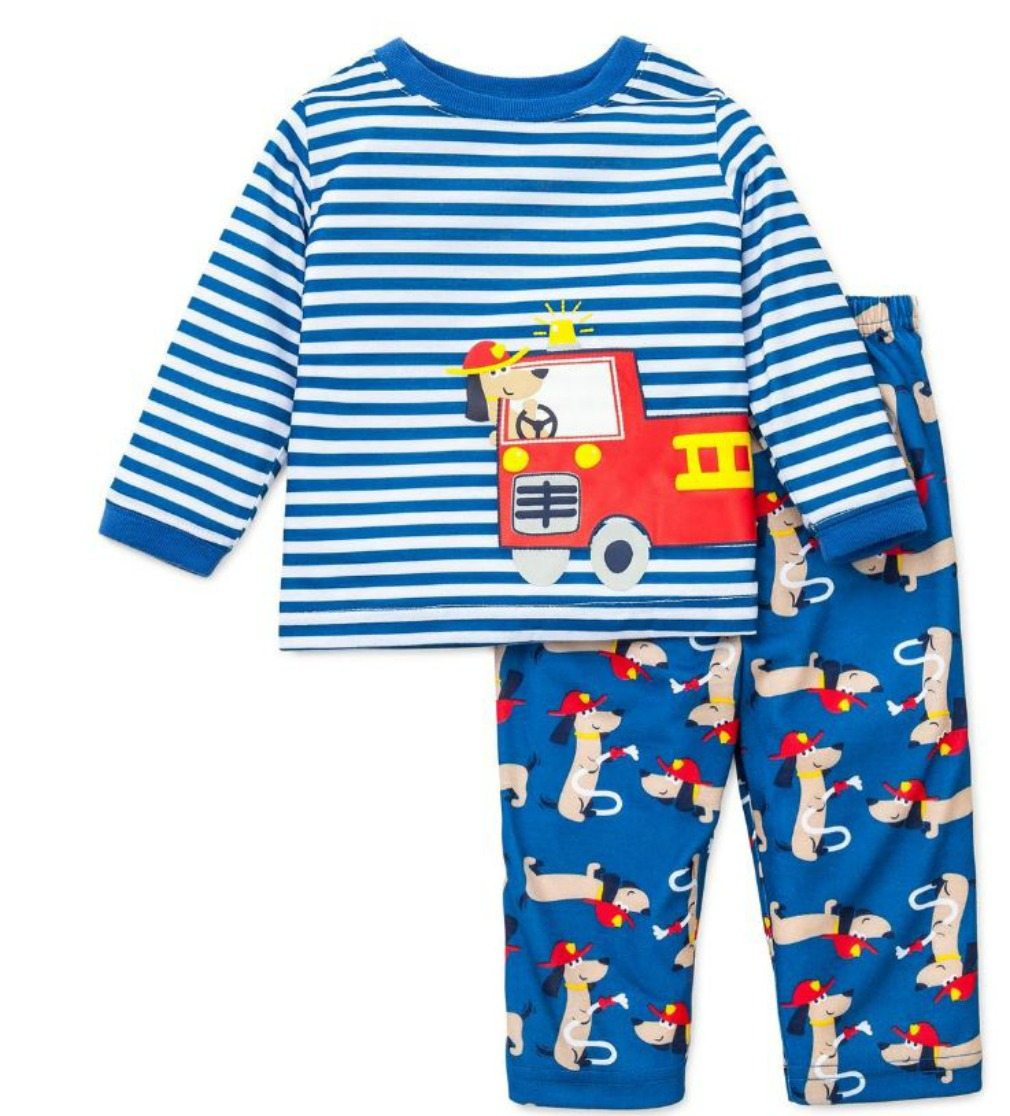Little Me Toddler Boys Pajamas : Fire Truck Rescue Dog 4T