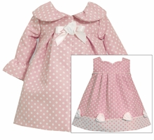 Toddler Dot Ruffle Sleeve Pink Coat Dress